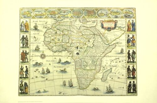 Africa 16th Cent Vintage Historical Map Out Of Print Ltd Ed NYC Public Library