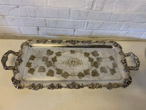 Vtg Possibly Antique EG Webster & Son Silver Plated Grape Vine Hand Chased Tray