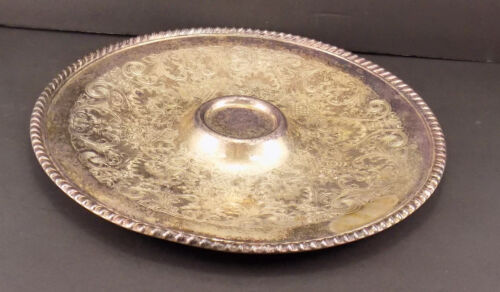 "ANTIQUE Wm Rogers 866 Silverplate 12 1/4"" Round Tray RESTORE COLLECTIBLE PLATTER"