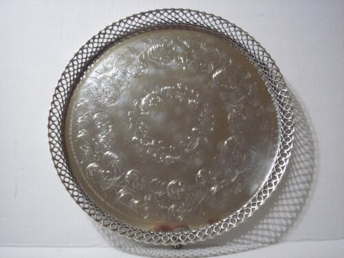Antique Engraved Footed Portuguese .833 Silver Tray Early 20th. Century Salver