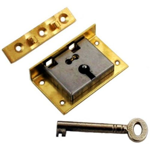 LARGE BRASS HALF MORTISE CHEST LOCK WITH KEY, S-11