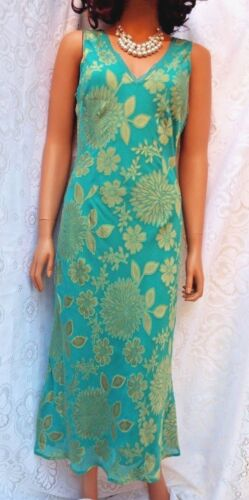 AUSTIN REED Silk Blend 20s style chiffon Cocktail Dress Turquoise & Gold SIZE 10