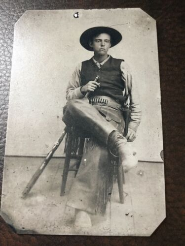 Armed Cowboy Wearing Fringed Leather tintype C320RP