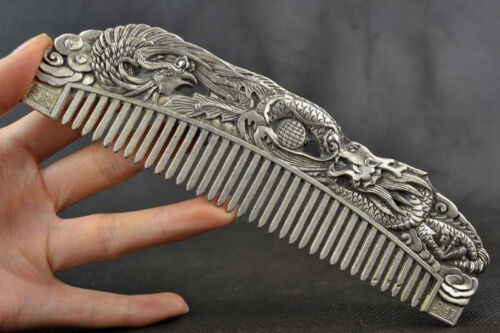 Chinese Old Decoration Collectibles Handwork Tibet Silver Carving Dragon Comb KK