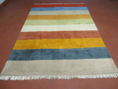 5'X 8' Vintage Hand Made  Gabbeh Fine Wool Rug Carpet Colorful Strips Nice