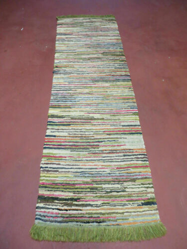 2' X 6' Vintage Hand Loomed Cotton Stripe Rug Natural Dyes Braided Rag Nice
