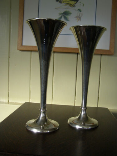 Pair Sterling Silver Trumpet Vases ca. 1917 - R Wallace & Sons