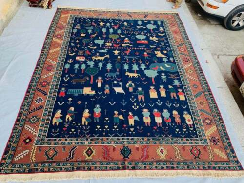 F0 Fine Quality Wool Hand Knotted Sumik Pictorial Armenian Area Rug 9 x 11'8 Ft