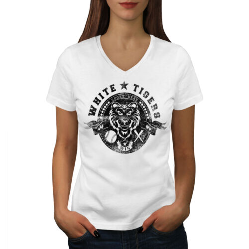 Wellcoda White Tigers Team Animal Womens V-Neck T-shirt, Wear Graphic Design Tee