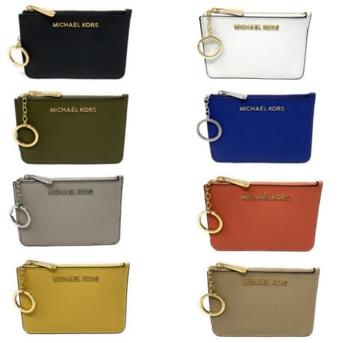Michael Kors Jet Set Travel Small Leather Top Zip Coin Pouch With ID