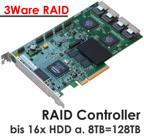 16xS-ATA Raid Pcie Controller LSI 3ware 9650se/16ml 8xCABLE Hdds To 192 TB HDD