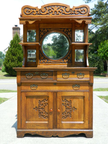 Small Solid Carved Oak Buffet Sideboard circa 1900