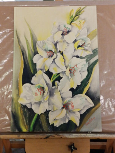 Listed J. Bellows Still Life Flowers 'WHITE IRISES' Vintage Watercolor Painting