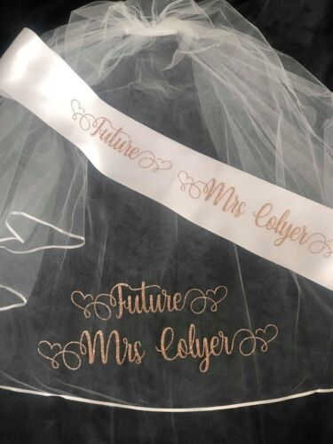 Personalised Veil, Personalised Sash Hen Party Veil, Bride To Be
