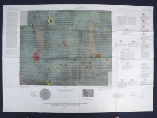 APOLLO 12 LANDING SITE GEOLOGIC MAP Pristine! 1971 RARE PRE-MISSION MAP
