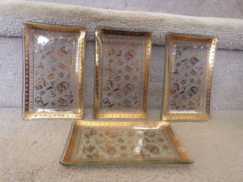 """VINTAGE Mid Century GEORGE BRIARD Gold Relish Persian Cocktail Dishes 6.62""""x4"""""""
