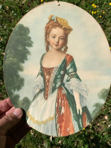 Antique Victorian Girl French Art Nouveau Print Oval Photo for Framing ❤️sj17j