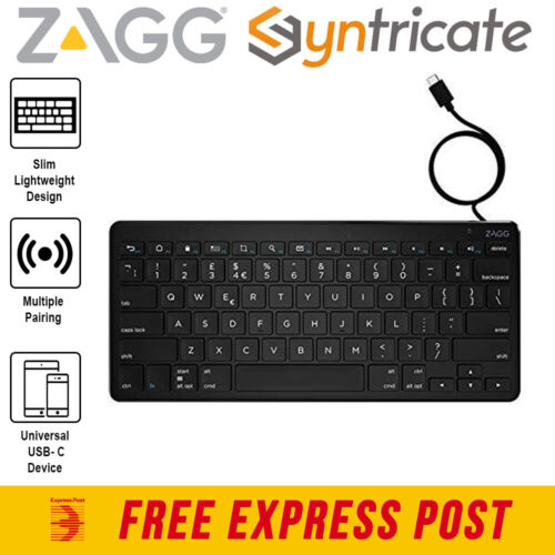 ZAGG UNIVERSAL WIRED USB-C FULL SIZED KEYBOARD WITH 1.5 METER CABLE
