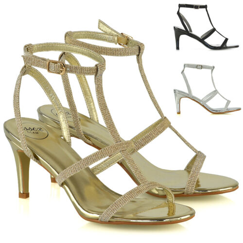 Womens Strappy Sandals Stiletto Low Mid Heel Ladies Bridal Party Shoes Size 3-8