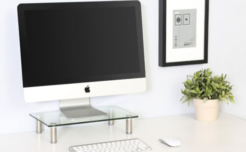 Glass Riser Stand For PC Monitor Computer Laptop iMac Notebook LED TV Display