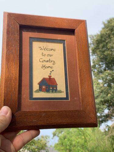 Vintage Primitive Framed Art WELCOME TO OUR COUNTRY HOME Saltbox House ❤️ sj17j