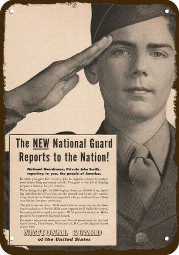 1949 U.S. ARMY NATIONAL GUARD Vintage Look REPLICA METAL SIGN - SOLDIER SALUTESNational Guard - 66532
