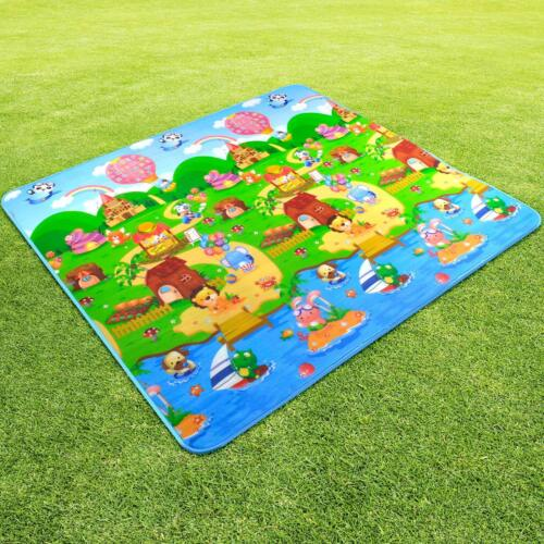 2x1.8m Large Baby Kids Floor Play Mat Rug Picnic Cushion Crawling  Double Sides