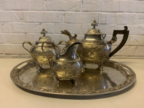 Antique 18th / 19th Cent. Portuguese Lisbon 3 Piece Silver Tea Set w Silver Tray
