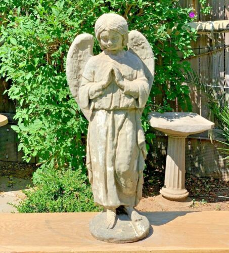 ANTIQUE TALL PRAYING ANGEL Vintage Cement Concrete Stone Outdoor Garden Statue