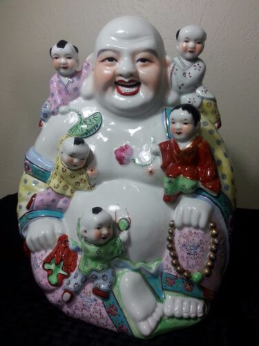 Large Chinese Porcelain Famille Rose Buddha Kids Vintage