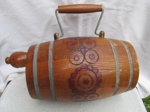 OLD ANTIQUE PRIMITIVE CARVED WOODEN CANTEEN FLASK KEG WINE BRANDY EARLY 20th