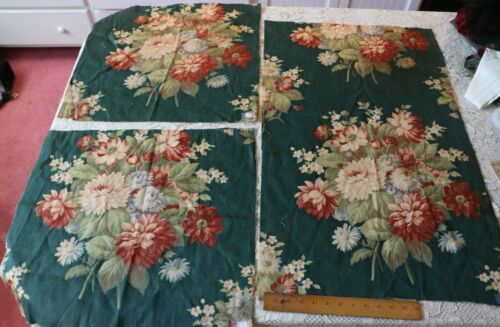 3 Pieces Of Vintage c1940s Big Scale Floral Curtain/Drape Fabric~Green Ground