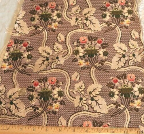 """Antique French 18thC Floral Silk Brocade Fabric~Dolls,Home,Collectors~35""""X14"""""""