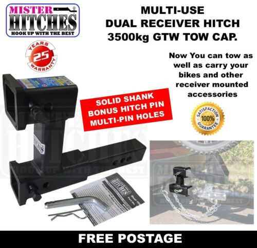 DUAL RECEIVER HITCH 3500KG TONGUE MULTI USE TOW BAR TRAILER CAMPER BIKE RACK  <br/> FOR TOWING AND USING RECEIVER STYLE BIKE RACK