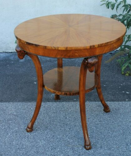 Italian Olive Wood Bookmatched Round Center, Accent Table With Ram's Heads
