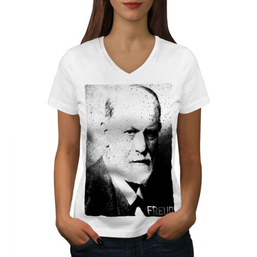 Wellcoda Freud Portrait Womens V-Neck T-shirt, Famous Graphic Design Tee