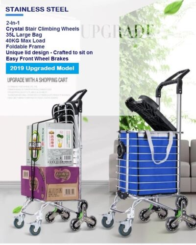 New 2019 Foldable Stainless Steel Shopping Trolley Cart Grocery Luggage Basket <br/> Use code 'PICKLE' to get extra 3% OFF! 1-Year Warranty