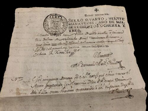 Charles III of Spain Royal Stamp Document 1783