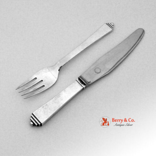 Pyramid Luncheon Fork Knife Set Jensen Sterling Silver Stainless 1927