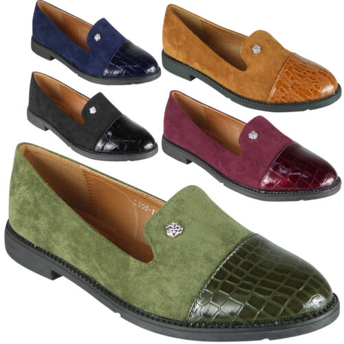 Womens Ladies Croc Loafers Brogue Slip On Flats Work Office School Shoes Size