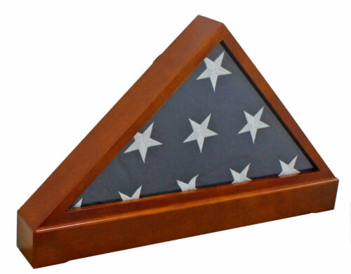 5 'X 9.5' Flag Display Case Flag holder box with Pedestal, FC60P5-MA Solid wood Other Militaria - 135
