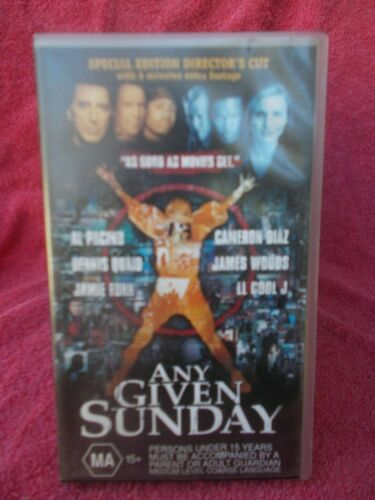 ANY GIVEN SUNDAY-SPECIAL EDITION(WARNER BROS No 17945)MA VHS TAPE(LIKE NEW)