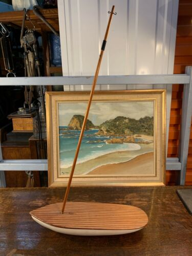 Vintage Australian 1950's Collector's Model Timber Pond Yacht 40cm Long