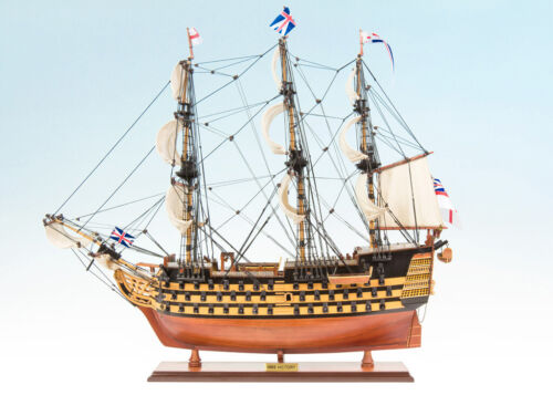 SEACRAFT GALLERY HANDCRAFTED WOODEN MODEL SHIP BOAT HMS VICTORY PAINTED 75CM