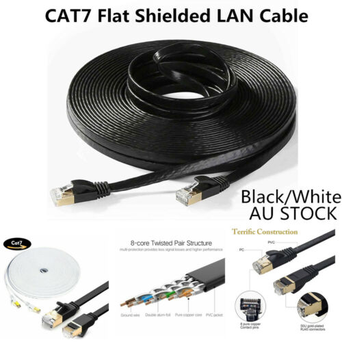 CAT 7 RJ45 10Gbps Ethernet Network Lan Cable Flat Shielded Patch Lead 5M TO 30M