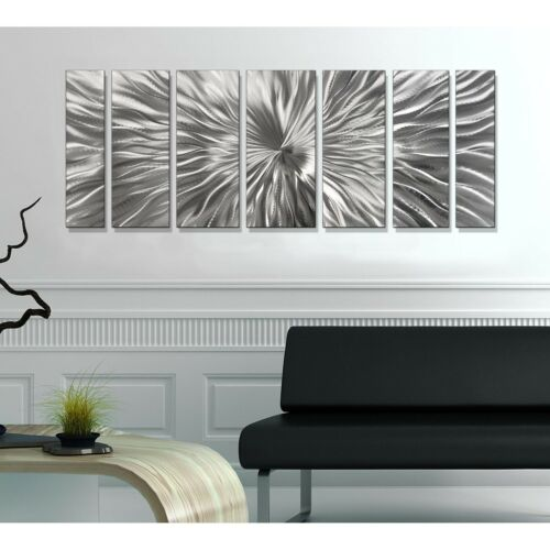 Silver Modern Metal Wall Art Large Abstract Etched Hanging Sculpture Jon Allen