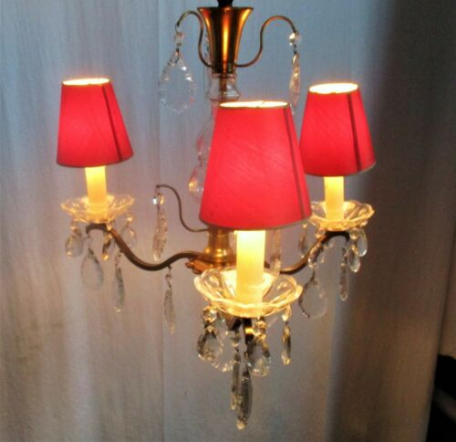 Brass Ornate Chandelier 3 Arms Lights Prisms Hollywood Regency Empire Red Shades