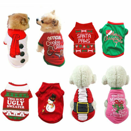 Christmas Pet Dog T-Shirt Clothes For Puppy Dog Cat Santa Pullover Shirt Clothes