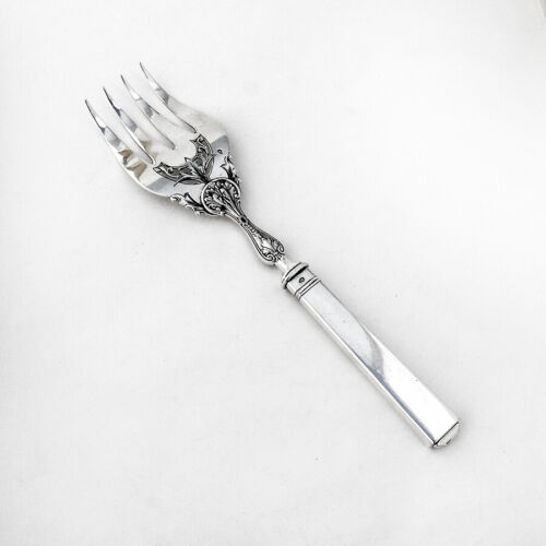 Antique Ornate Pierced Serving Fork French Sterling Silver