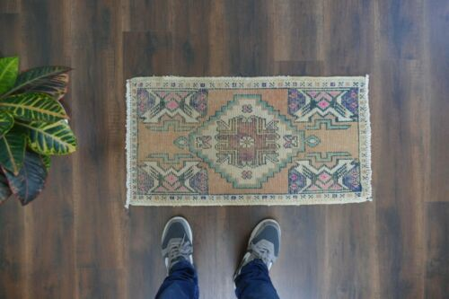 Turkish Small Rug,Vintage Handwoven Wool Rug,Antique Carpet 1'5x2'9 ft